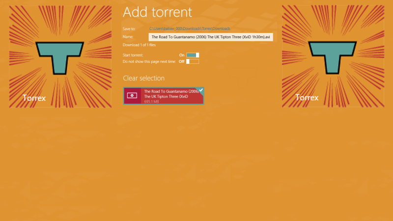 Torrex Lite: un downloader di file Torrent per Windows RT e Windows 8