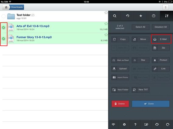 GoodReader - Seleziona 2 file da allegare in nuova email