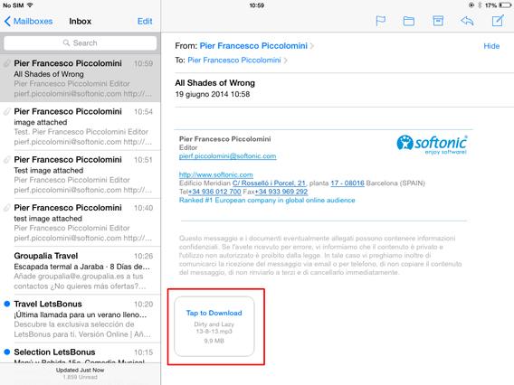 Mail - Icona allegato arrivato