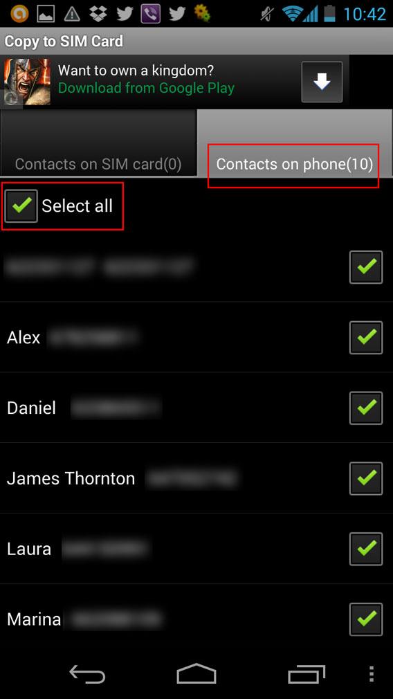 Selecione todos os seus contatos com Copy to SIM Card