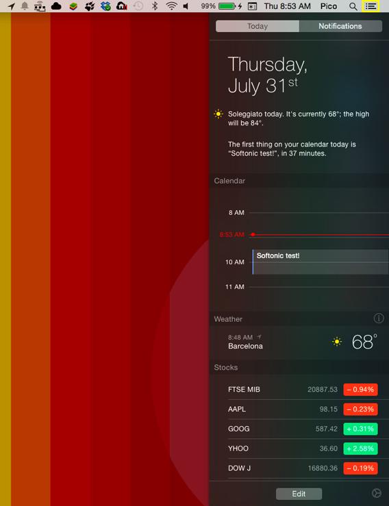 Le centre de notifications d'Apple