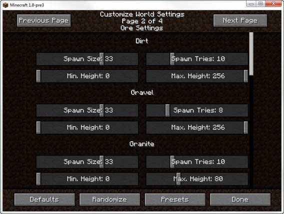 Minecraft - Ore Settings
