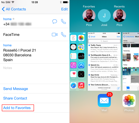 Add a contact to favorites