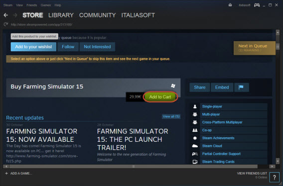 Steam - Add to cart