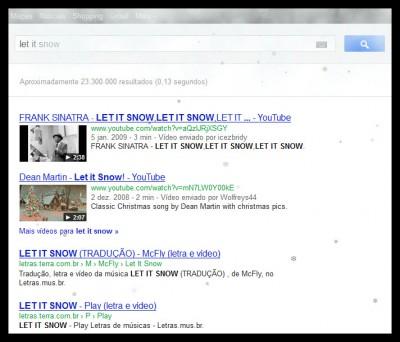 Faça nevar na tela do Google