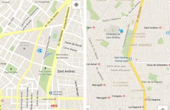 Antes e depois do Google Maps para Android