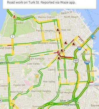 Mensagem do Waze no Google Maps