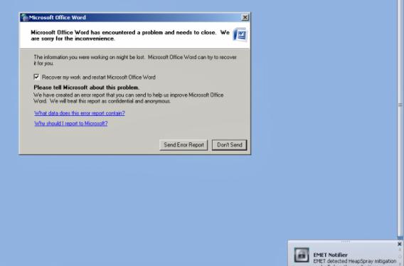 Tela de erro do Microsoft Office Word
