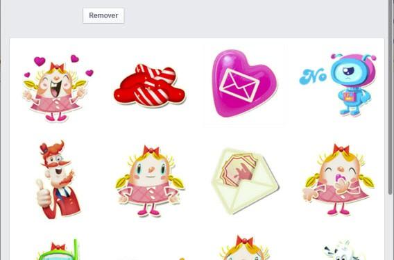 Stickers do Candy Crush na Loja de figurinhas do Facebook