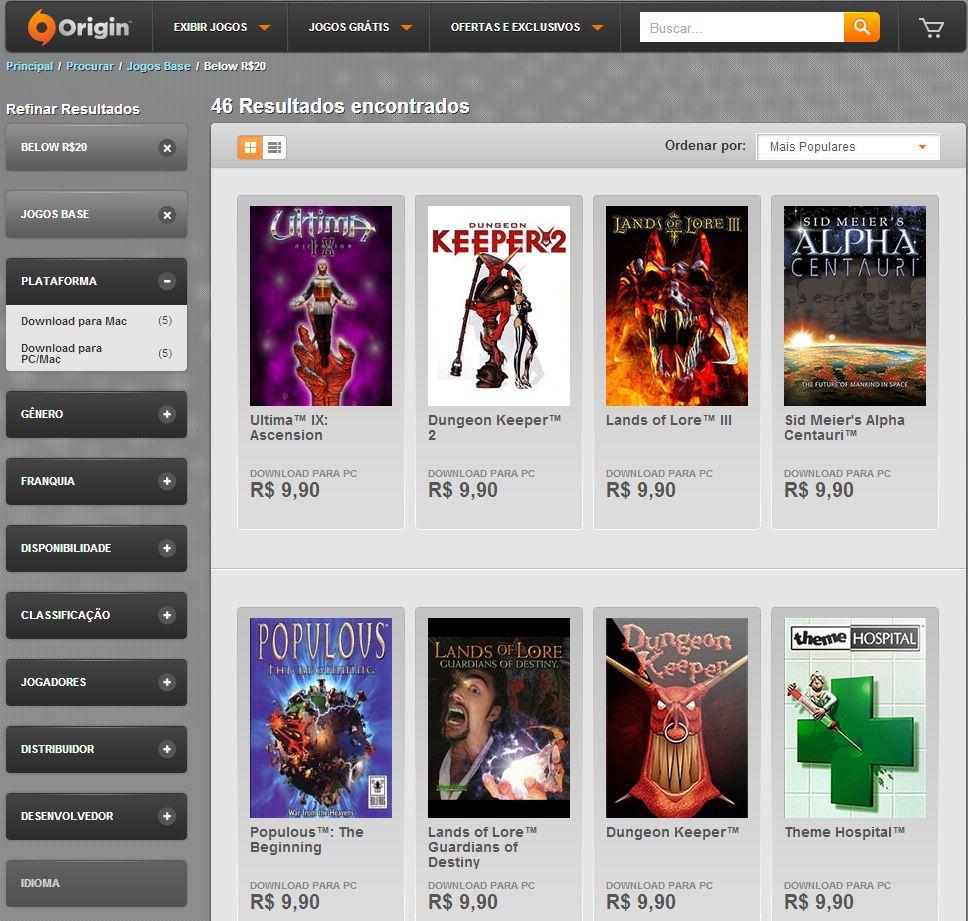 Origin faz liquidação de jogos clássicos