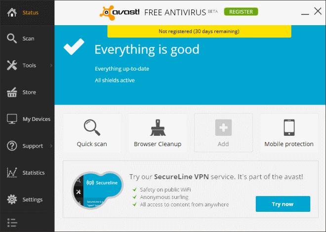 Interface avast! Free Antivirus