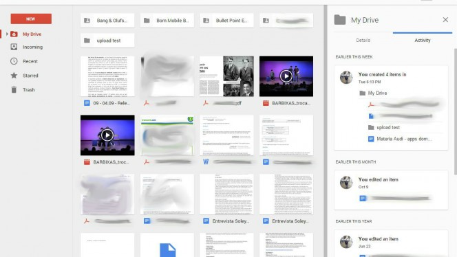 Interface do Google Drive online