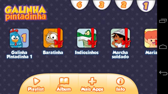 Tela do app Turma da Galinha Pintadinha