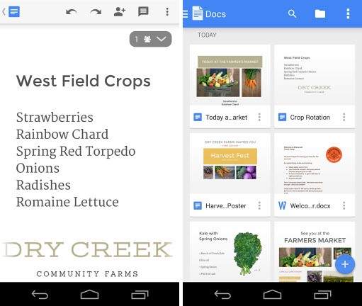 Interface do Google Docs para Android