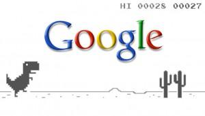 Dinossauro versus cactos: o easter egg do Google Chrome para Android