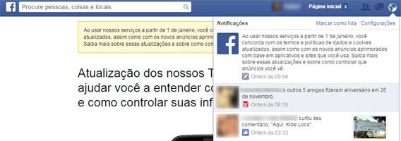 Mensagem no Facebook alerta para alteração nos termos de uso da rede social