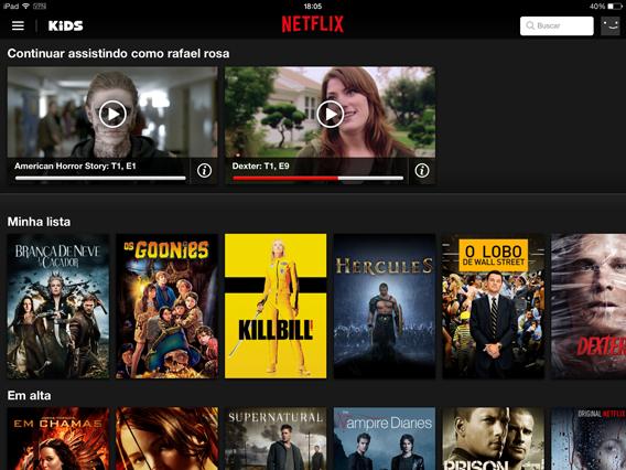 Tela principal da Netflix para iOS