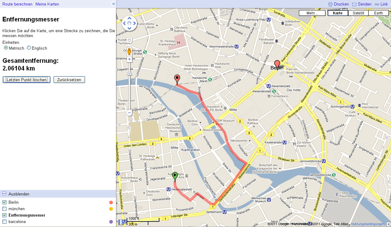 entfernungen in google maps exakt messen. Black Bedroom Furniture Sets. Home Design Ideas