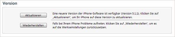iTunes - Version aktualisieren