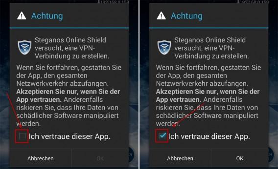 Steganos Online Shield VPN: Zum Aufbau der VPN-Verbindung muss man der App vertrauen.