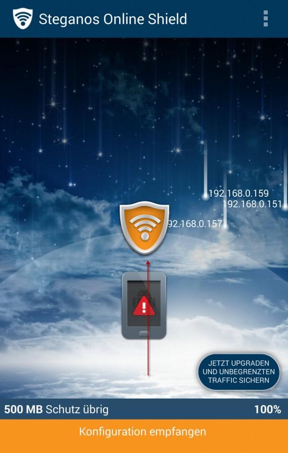 Steganos Online Shield VPN beim Verbindungsaufbau.