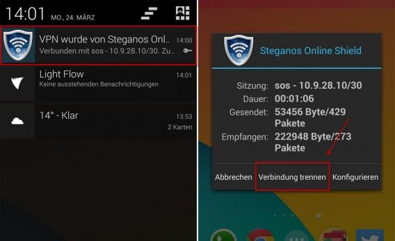 Steganos Online Shield VPN: Die Verbindung trennt man über die Statusbar.