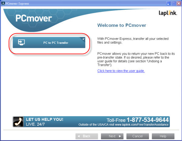 PC to PC transfer using PCmover