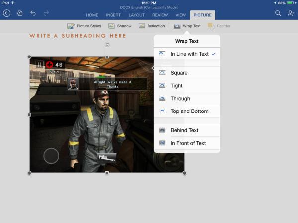 Word pour iPad -fonctionnalité