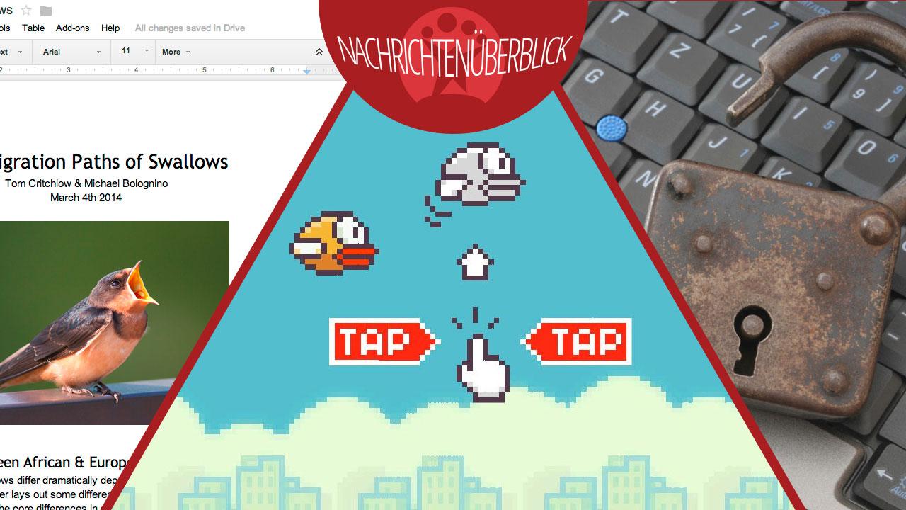Rückkehr von Flappy Bird, Google Drive startet Add-Ons, WhatsApp-Chats sind nicht sicher
