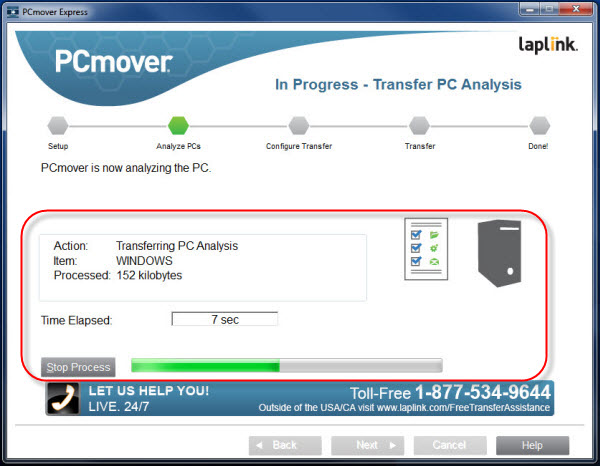 PCmove transfer analysis