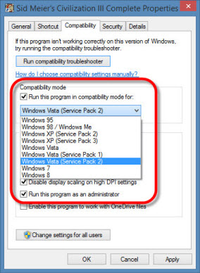 Windows compatibility mode os version