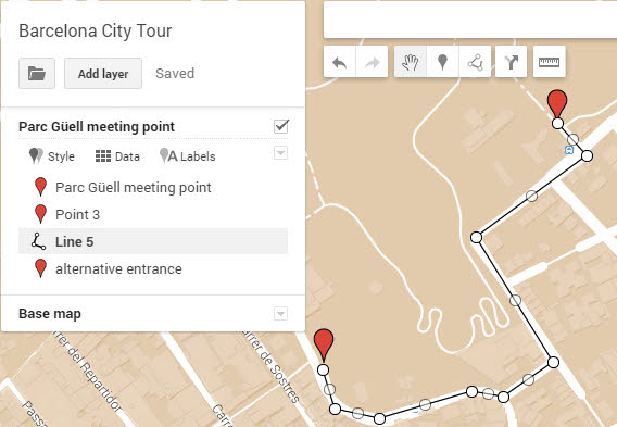 Google My Maps Add line shape tool example