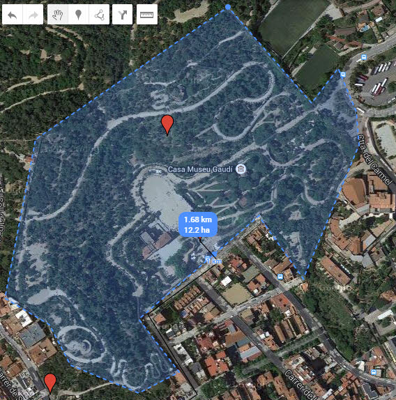 Google My Maps measure area example