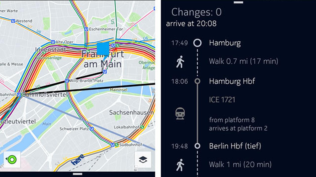 HERE Maps integriert Deutsche Bahn-Informationen
