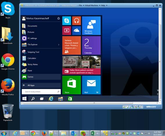 Windows 10 Technical Preview virtual machine vmware