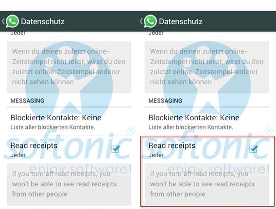 WhatsApp: Screenshot zeigt die mögliche Deaktivierung der Lesebestätigung