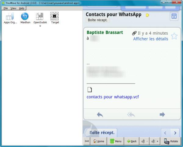 Envoi de la liste de contacts WhatsApp Softonic