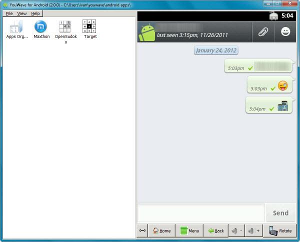 WhatsApp depuis l'émulateur YouWave Softonic