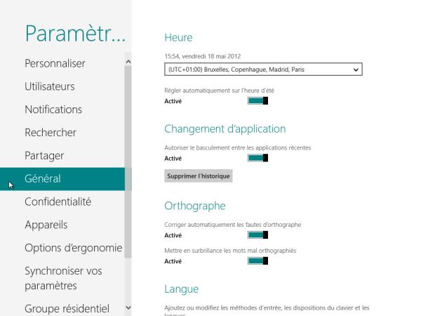 Panneau de Configuration Windows 8 Général
