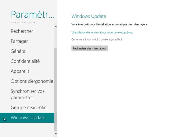 Panneau de Configuration Windows 8 Windows Update
