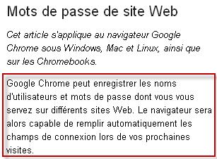 Informations additionnelles Mots de passe de site Web Softonic