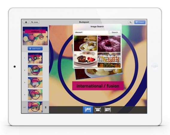 Versão do Prezi para iPad; app suporta muitos formatos de arquivos