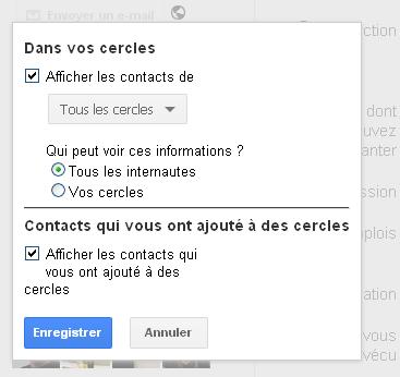 Masquer ses contacts sur Google+