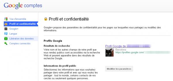 Profil et Confidentialité dans Google+