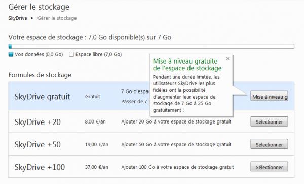 SkyDrive passe à 7 Go gratuits. Comment conserver 25 Go gratuits?