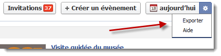 Facebook - Exportation des évènements