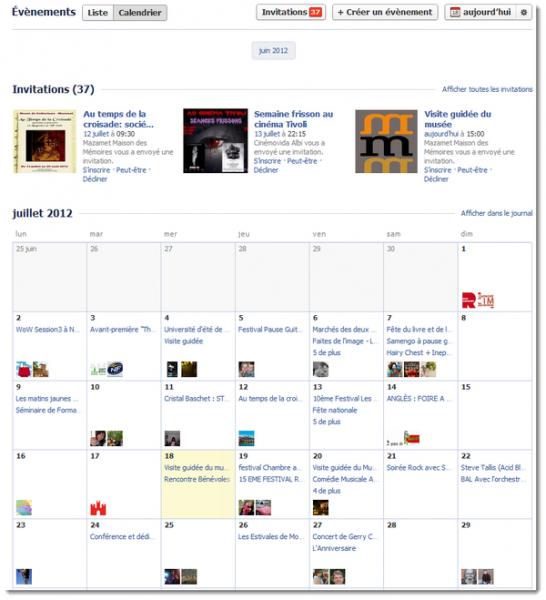 Facebook gestion des évènements - calendrier