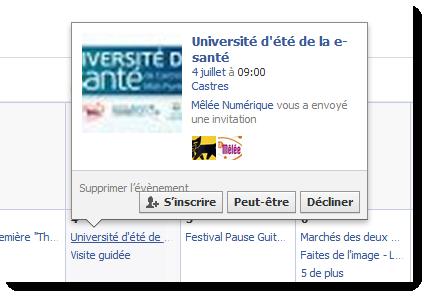 Facebook - inscription à un évènement
