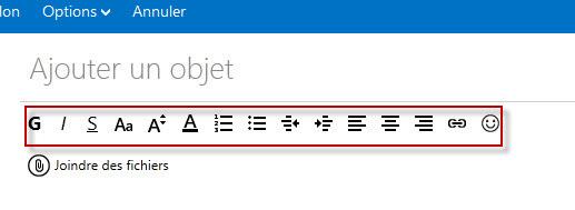 Guide Outlook.com : Barre Format