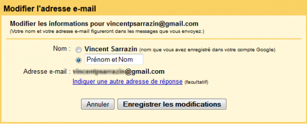 modifier nom email